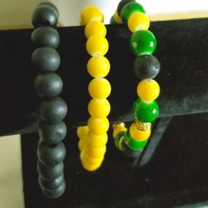 GREEN, BLACK AND YELLOW  HANDMADE BRACELET